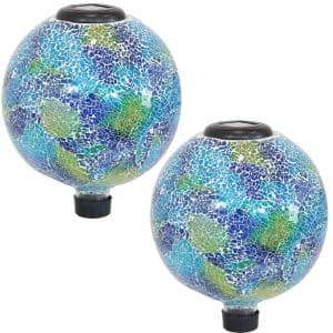 10 in. Azul Terra Glass Gazing Ball Globe - LED Solar Light (Set of 2)