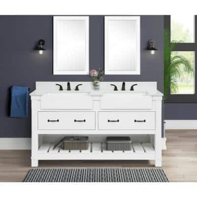 Wellford 61 in. W x 22 in. D x 34.50 in. H Bath Vanity in White with Engineered Stone Vanity Top in White with Basin