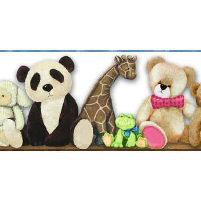 Beige, Brown, Blue, Pink Teddy Bear and Animals Prepasted Wallpaper Border