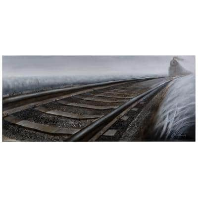 "31.5 in. H x 72 in. W ""Rip Track"" Artwork in Synthetic Fabric Canvas Wall Art"