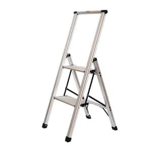 2-Step Slimline Aluminum Light Step Stool with 225 lb. Load Capacity Type 2 Duty Rating