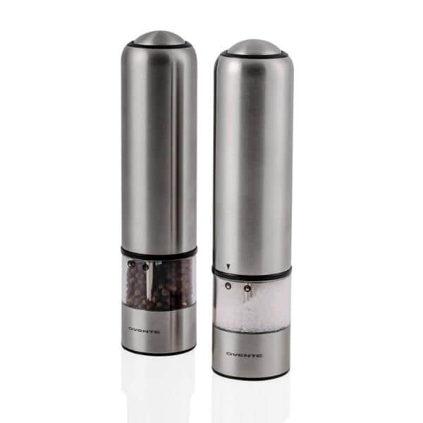 Ovente Stainless Steel With Ceramic Blades Electric Salt And Pepper Grinder Set 6 Aaa Battery Operated Spd112s The Home Depot