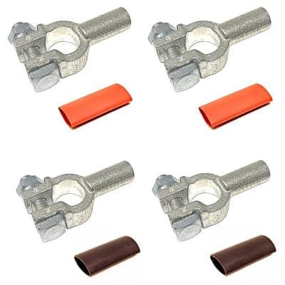 2/0-Gauge Positive and Negative Pure Copper Top Post Battery Cable Terminal Connectors Plus Heat Shrink (2-Pairs)