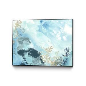 30 in. x 40 in. ''Aqua Wave Form II'' by June Erica Vess Framed Wall Art