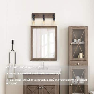 Black Bathroom Vanity Light 3-Light Rustic Metal Vanity Light Modern Industrial Water Pipe Wall Sconce with Wood Accents