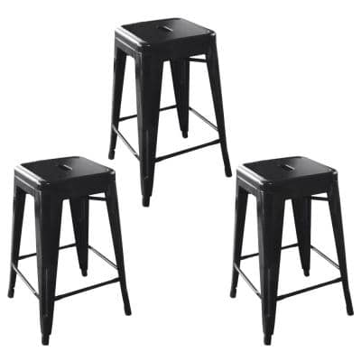 Loft Style 24 in. Black Stackable Metal Bar Stool (Set of 3)