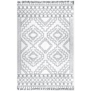 Vasiliki Moroccan Tassel Shag White 10 ft. x 14 ft. Area Rug