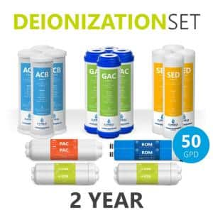 2 Year Deionization Reverse Osmosis System Replacement Filter Set - 20 Filters with 50 GPD RO Membrane