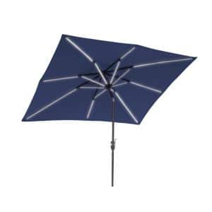 9 ft. x 7 ft. Market Rectangular Next Gen Solar Lighted Patio Umbrella in Navy