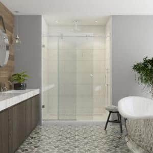 Model 8800 60 in. x 76 in. Frameless Sliding Shower Door in Bright Clear with Circular Thru-Glass Door Pull
