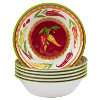 Red Hot Multicolored Melamine All Purpose Bowl 22 oz. 7.5 in. x 2 in. (Set of 6)
