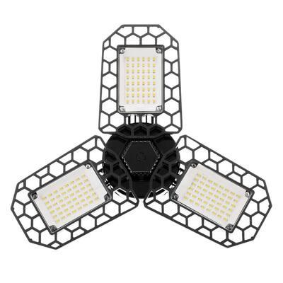 60-Watt Black Deformable LED Adjustable Garage Light, 7200LM, 3-Leaf 6000K Daylight White