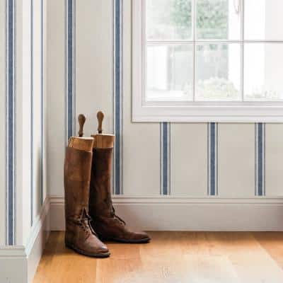 Linette Blue Fabric Stripe Paper Pre-Pasted Wallpaper Roll (Covers 56.4 Sq. Ft.)