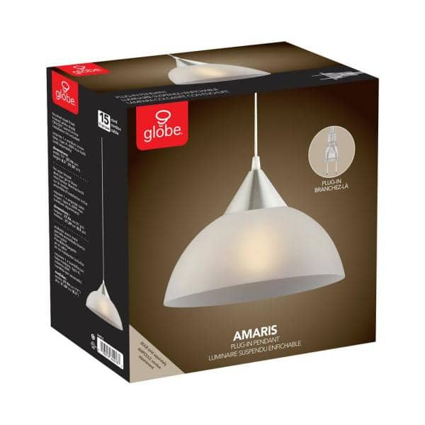 Globe Electric Amris 1 Light 11 In Plug In White Hanging Pendant 64413 The Home Depot