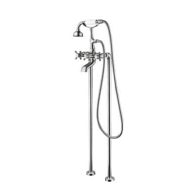 Century II 2-Handle Claw Foot Freestanding Tub Faucet with 2 Legs, Hand Shower and Easy Install Box in Chrome