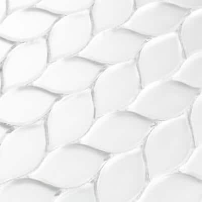 Handmade Decor Frosted Matte White Tear Drop Mosaic 1 in. x 3 in. Glass Peel and Stick Wall Tile (15 sq. ft./case)