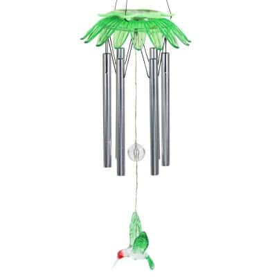 7 in. x 27.5 in. Solar LED Green Flower Hanging with Hummingbird Charm Metal Wind Chimes