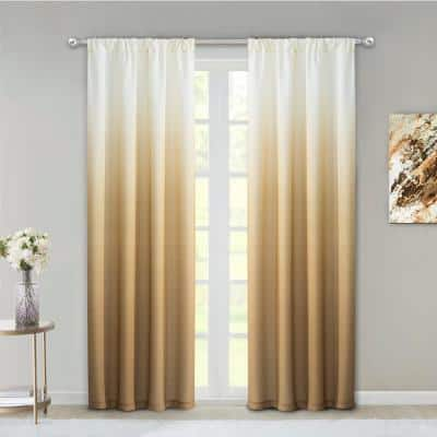 Gold Ombre Rod Pocket Room Darkening Curtain - 40 in. W x 84 in. L  (Set of 2)