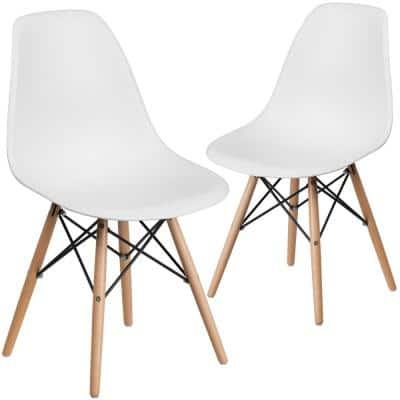 White Plastic Party Chairs (Set of 2)