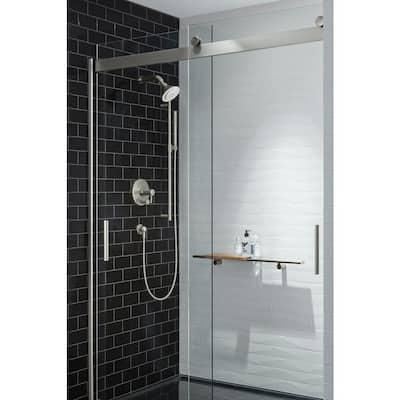 Moxie 5 in. Single Function Showerhead with Bluetooth Speaker in Brushed Nickel