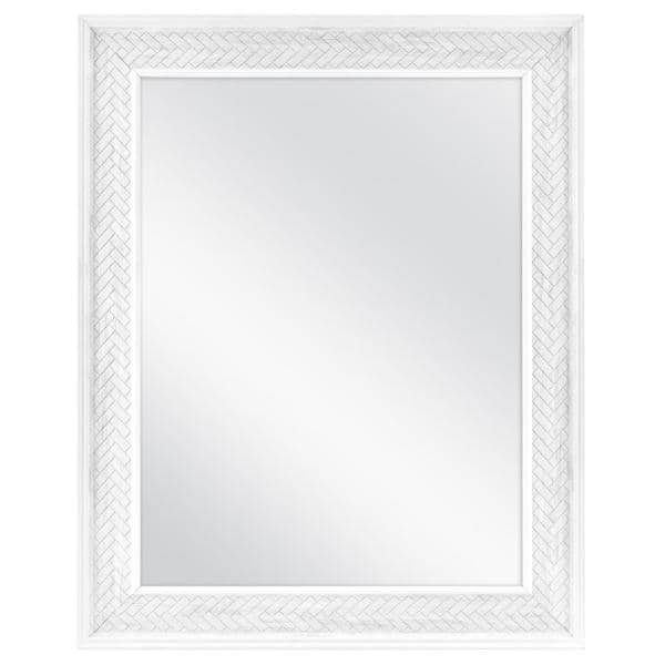 Home Decorators Collection 24 In W X 30 In H Framed Rectangular Anti Fog Bathroom Vanity Mirror In White 83023 The Home Depot