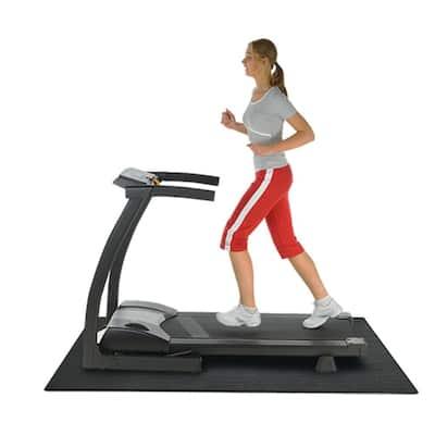 Treadmill Mat 3/16 in. x 48 in. x 90 in. Black Heavy-Duty Fitness Equipment Mat