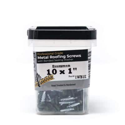#10 x 1 in. Evergreen Hex Washer Head Metal to Wood Screw (100-Pack)