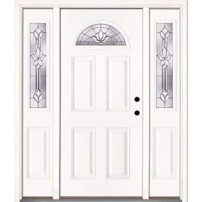 63.5 in. x 81.625 in. Medina Zinc Fan Lite Unfinished Smooth Left-Hand Fiberglass Prehung Front Door with Sidelites
