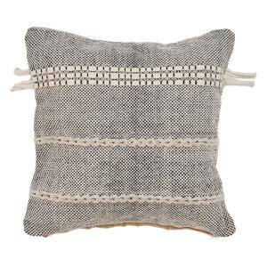 Zanthia Black and Natural Striped Hypoallergenic Cotton 20 in. x 20 in. Throw Pillow