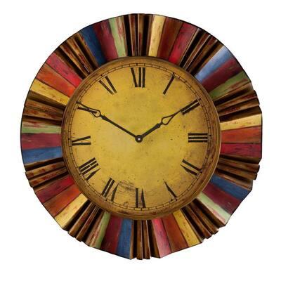 30.5 in. Multicolor Metal Wall Clock