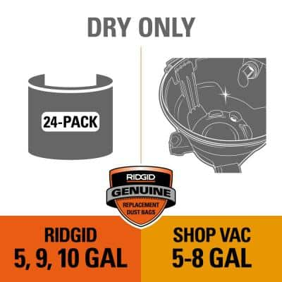 High-Eff. Size B Dust Collection Bags for 5-8 Gal. Shop-Vac Branded Vacs, 5-10 Gal. RIDGID Vacs, except HD0600 (24-Pack)