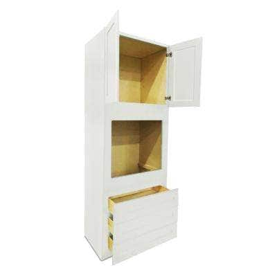 White Plywood Shaker Stock Ready to Assemble Single Oven Kitchen Cabinet 33 in. W x 24 in. D x 96 in. H