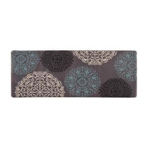 Gray 18 in. x 47 in. Contemporary Modern Floral Anti Fatigue Standing Mat