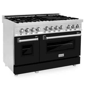 ZLINE 48 in. 6.0 cu. ft. Dual Fuel Range with Gas Stove and Electric Oven in Stainless Steel and Black Matte Door