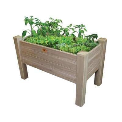 48 in. x 24 in. Weathered Cedar Vinyl Elevated Garden Bed