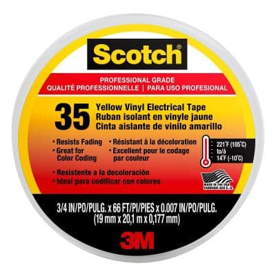Scotch 3/4 in. x 66 ft. x 0.007 in. #35 Electrical Tape, Yellow