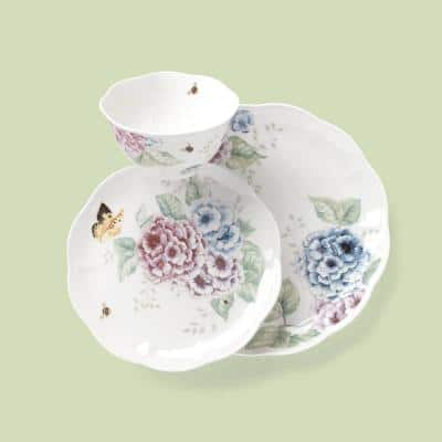 Butterfly Meadow 12-Piece Traditional White Porcelain Dinnerware Set (Service for 4)