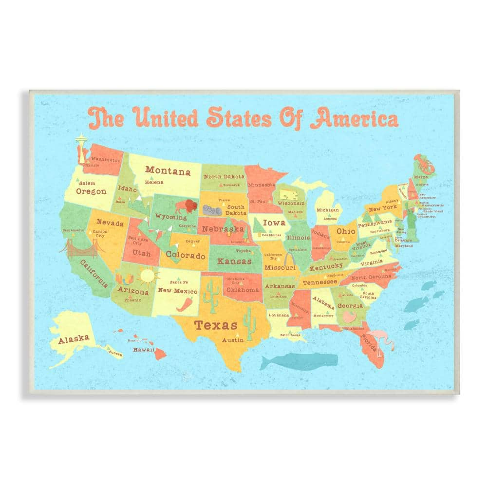 Stupell Industries 12 5 In X 18 5 In United States Of America Usa Kids Map By Daphne Polselli Printed Wood Wall Art Brp 2062 Wd 13x19 The Home Depot
