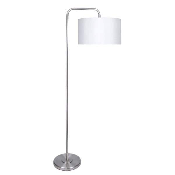 Grandview Gallery 64 In Brushed Nickel Floor Lamp With Arc Design And Luxurious White Silk Like Drum Shade Sf90067m The Home Depot