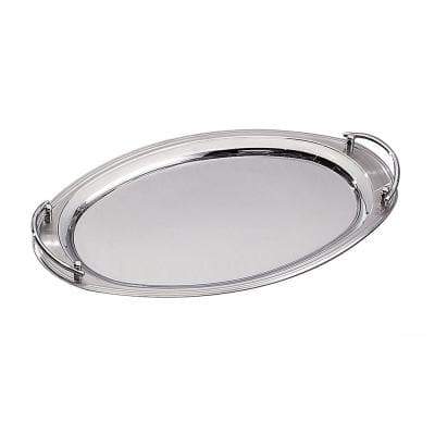 22 in. x 13 in. Oval 18/10 Stainless Steel Tray with Handles