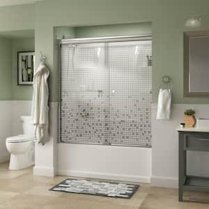 Portman 60 in. x 58-1/8 in. Semi-Frameless Traditional Sliding Bathtub Door in Chrome with Mozaic Glass