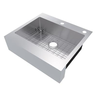 Retrofit Drop-In Stainless Steel 27 in. 2-Hole Single Bowl Flat Farmhouse Apron Front Kitchen Sink
