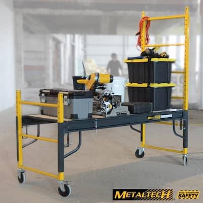 6.25 ft. H x. 6.2 ft. W x 2.5 ft. D Heavy Duty 4-in-1 Baker Style Rolling Scaffold Workbench, 1100 lbs. Load Capacity