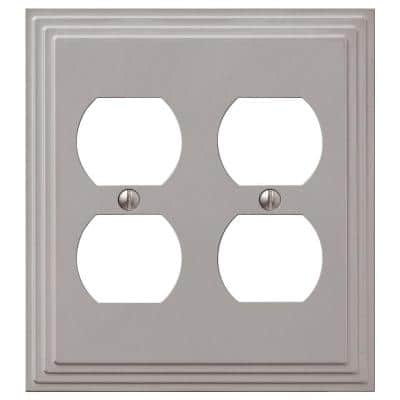 Tiered 2 Gang Duplex Metal Wall Plate - Satin Nickel