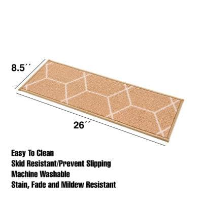 Hexagon Mustard 8.5 in. x 26 in. Nylon Stair Tread Cover (Set of 7)