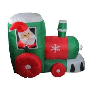 4 ft. Inflatable Santa on Locomotive Train Lighted Christmas Yard Art Decoration
