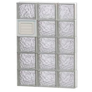 23.25 in. x 38.75 in. x 3.125 in. Frameless Ice Pattern Glass Block Window with Dryer Vent
