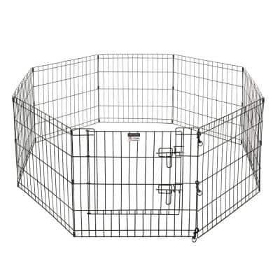 Eight 24 in. W x 24 in. H Panels 16 sq. ft. Playpen for Dogs