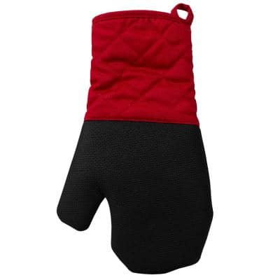 Textured Grip Silicone Red Oven Mitt
