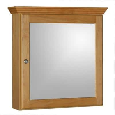 Ultraline 24 in. W x 27 in. Hx 6-1/2 in. D Framed Surface-Mount Bathroom Medicine Cabinet in Natural Alder